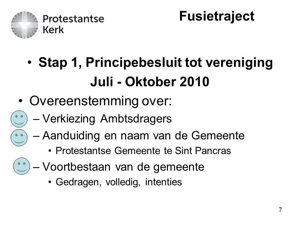 8 Stap 1, Principebesluit tot vereniging Juli - Oktober 2010 Overeenstemming over: –Plaats(en) van Samenkomst –Vastgoed bestemmingen –Levensverbintenissen –Conceptregelingen Fusietraject