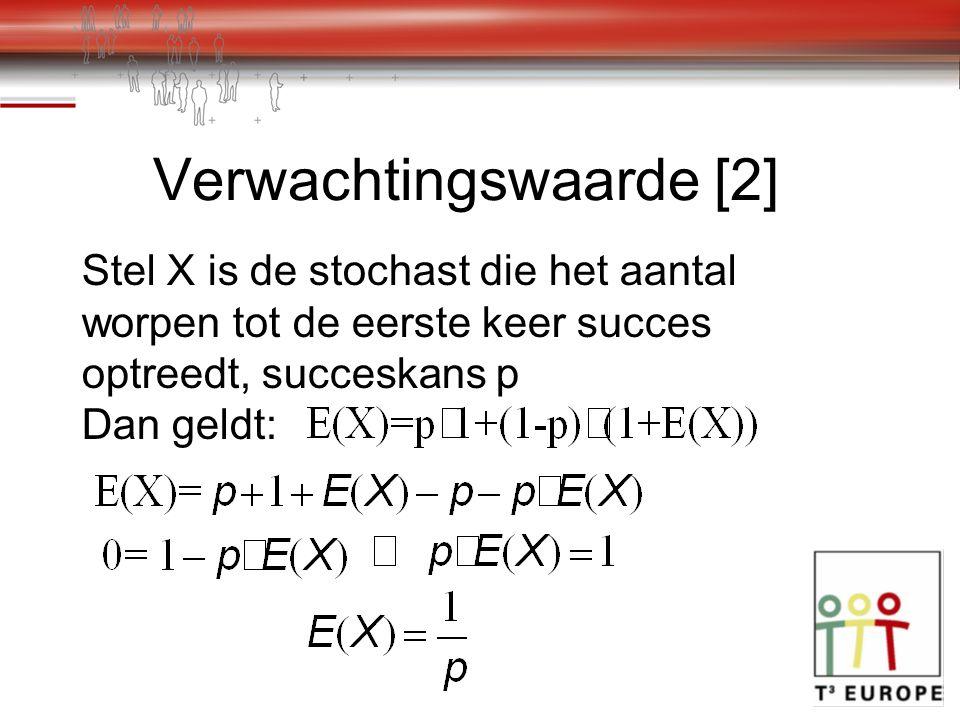Verwachtingswaarde [2] Stel X is de stochast die het aantal worpen tot de eerste keer succes optreedt, succeskans p Dan geldt: