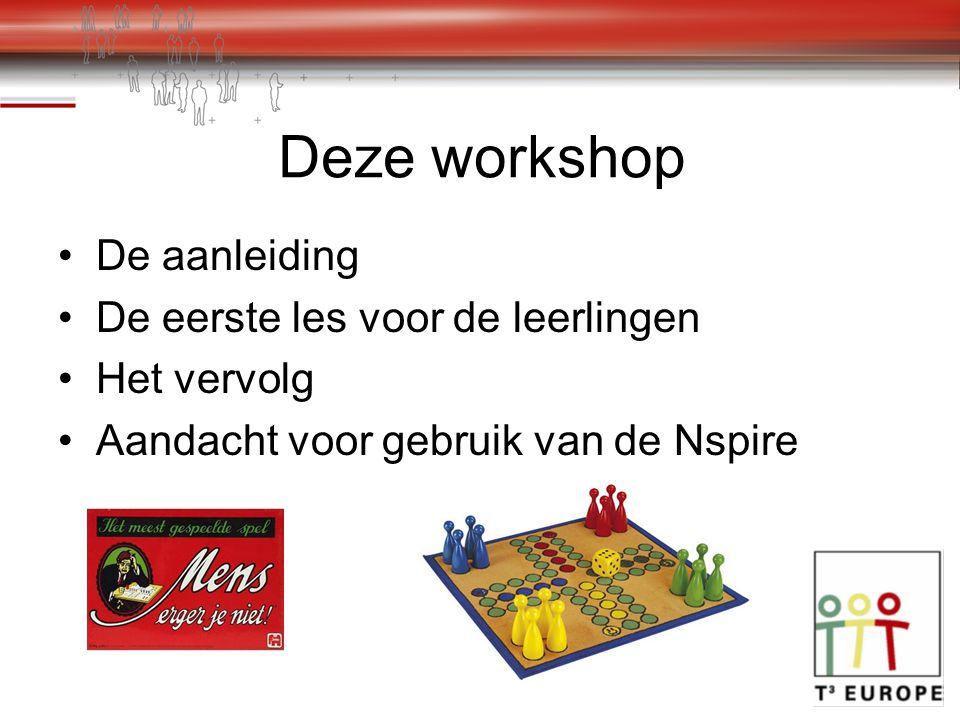 Deze workshop De aanleiding De eerste les voor de leerlingen Het vervolg Aandacht voor gebruik van de Nspire
