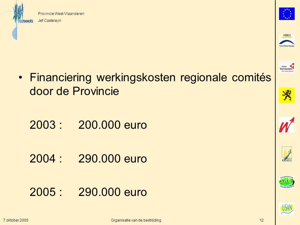 Provincie West-Vlaanderen Jef Casteleyn 7 oktober 2005Organisatie van de bestrijding12 Financiering werkingskosten regionale comités door de Provincie 2003 :200.000 euro 2004 :290.000 euro 2005 :290.000 euro