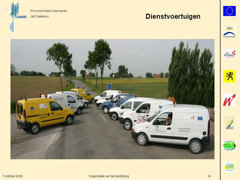 Provincie West-Vlaanderen Jef Casteleyn 7 oktober 2005Organisatie van de bestrijding14 Dienstvoertuigen