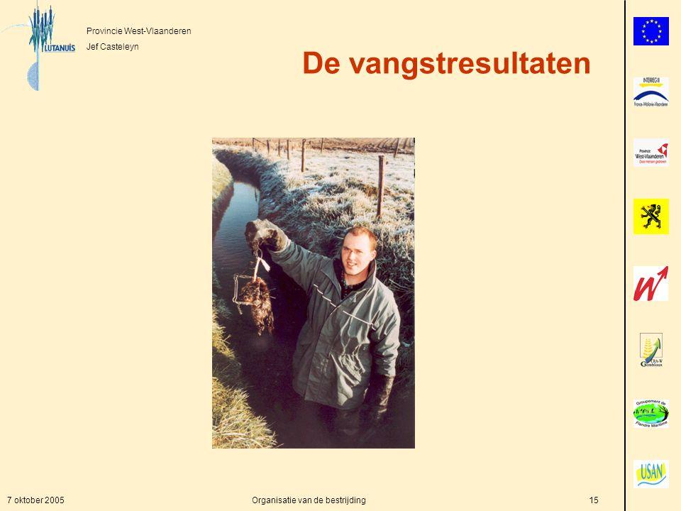 Provincie West-Vlaanderen Jef Casteleyn 7 oktober 2005Organisatie van de bestrijding15 De vangstresultaten
