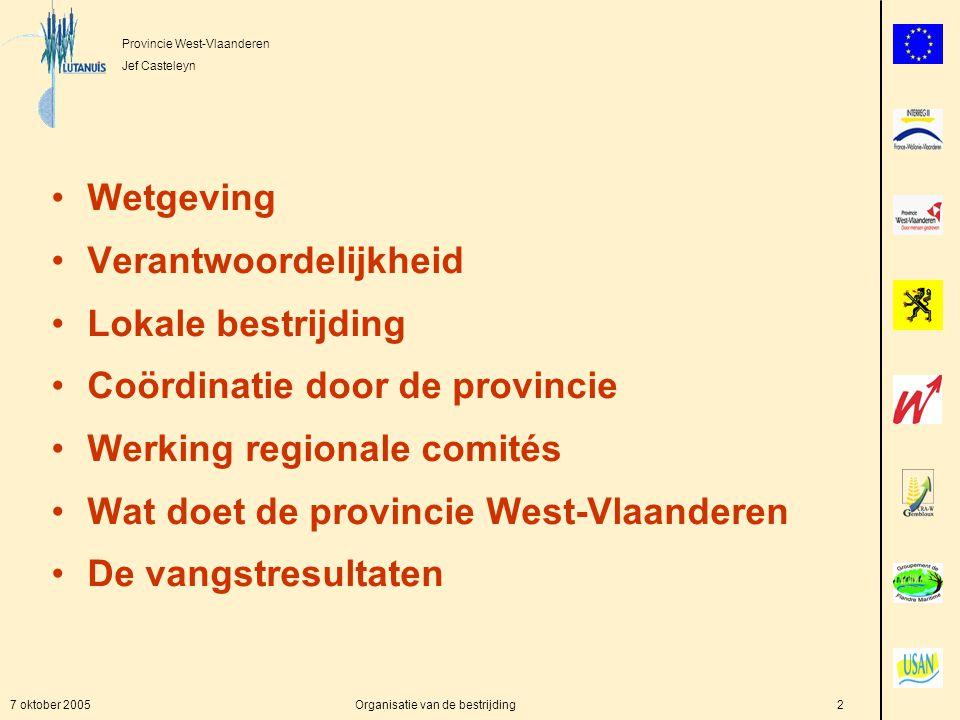 Provincie West-Vlaanderen Jef Casteleyn 7 oktober 2005Organisatie van de bestrijding2 Wetgeving Verantwoordelijkheid Lokale bestrijding Coördinatie door de provincie Werking regionale comités Wat doet de provincie West-Vlaanderen De vangstresultaten