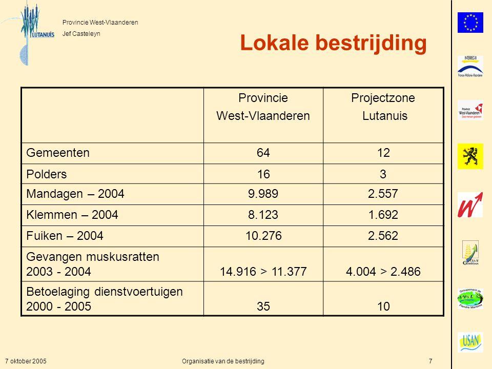 Provincie West-Vlaanderen Jef Casteleyn 7 oktober 2005Organisatie van de bestrijding7 Lokale bestrijding Provincie West-Vlaanderen Projectzone Lutanuis Gemeenten6412 Polders163 Mandagen – 20049.9892.557 Klemmen – 20048.1231.692 Fuiken – 200410.2762.562 Gevangen muskusratten 2003 - 200414.916 > 11.3774.004 > 2.486 Betoelaging dienstvoertuigen 2000 - 20053510