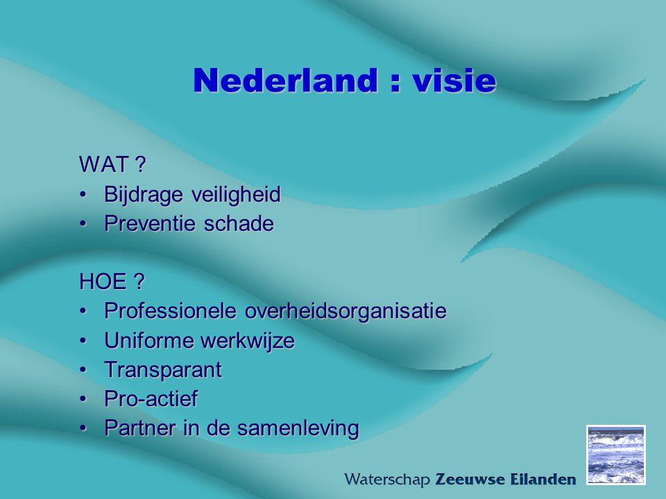Nederland : visie WAT ? Bijdrage veiligheidBijdrage veiligheid Preventie schadePreventie schade HOE ? Professionele overheidsorganisatieProfessionele
