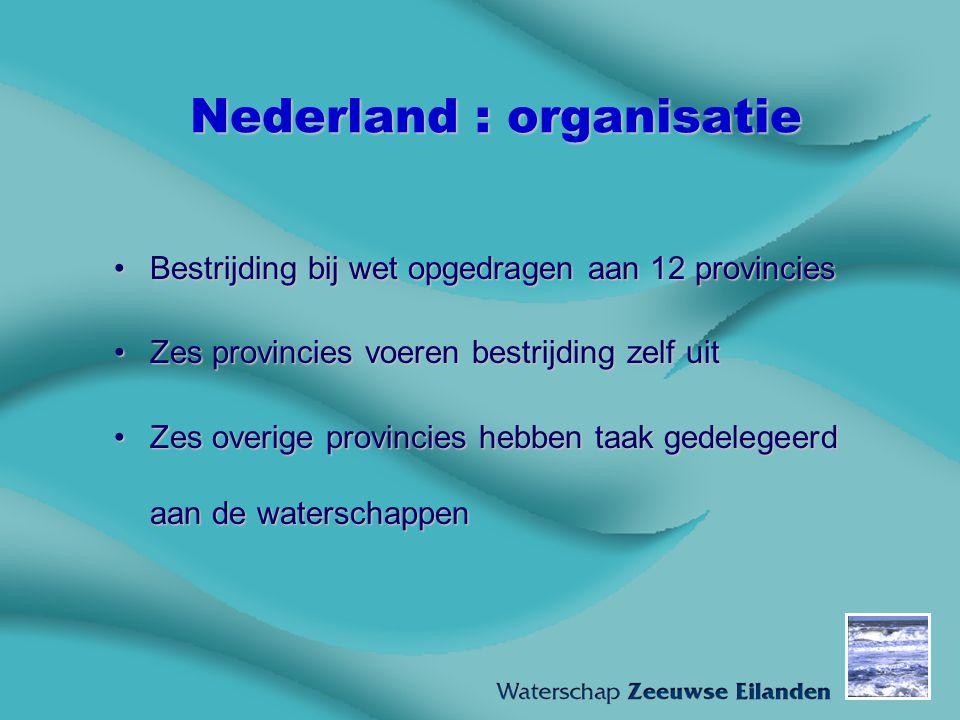 Nederland : organisatie Bestrijding bij wet opgedragen aan 12 provinciesBestrijding bij wet opgedragen aan 12 provincies Zes provincies voeren bestrij