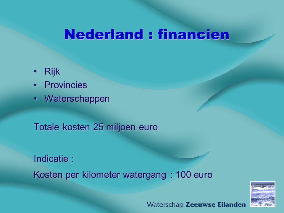 Nederland : financien RijkRijk ProvinciesProvincies WaterschappenWaterschappen Totale kosten 25 miljoen euro Indicatie : Kosten per kilometer watergan