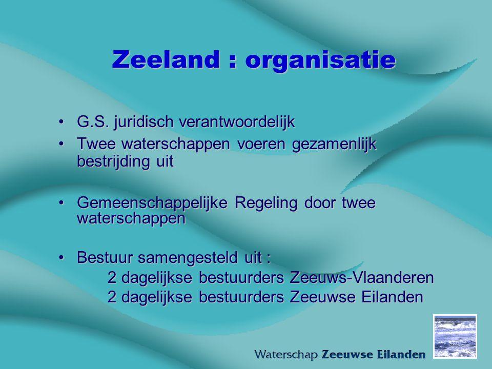 Zeeland : organisatie G.S. juridisch verantwoordelijkG.S. juridisch verantwoordelijk Twee waterschappen voeren gezamenlijk bestrijding uitTwee watersc