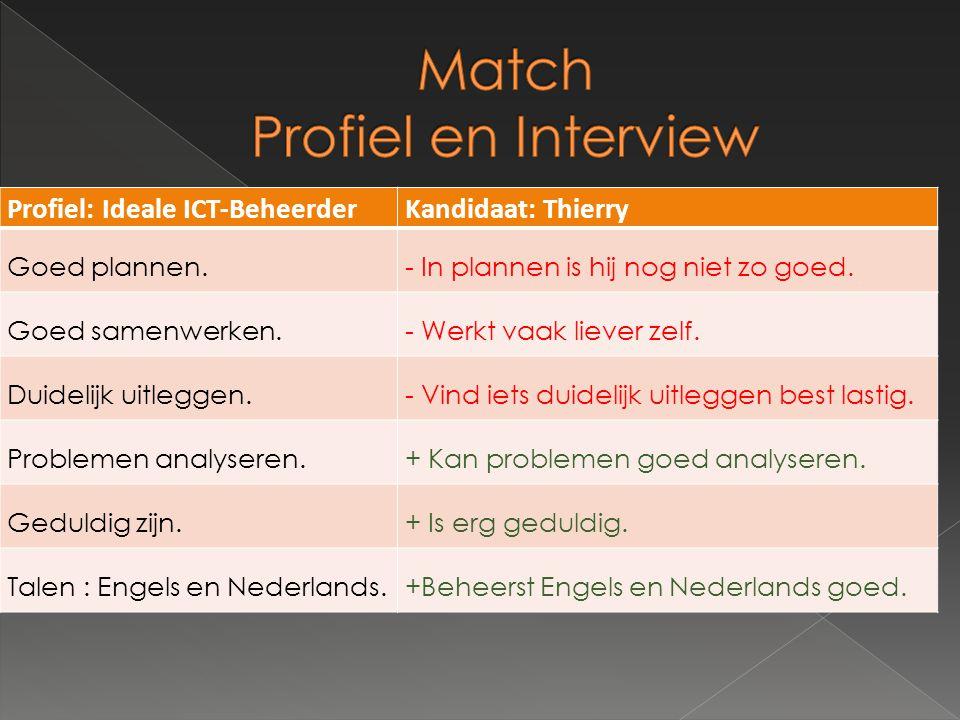 Profiel: Ideale ICT-BeheerderKandidaat: Thierry Goed plannen.- In plannen is hij nog niet zo goed.
