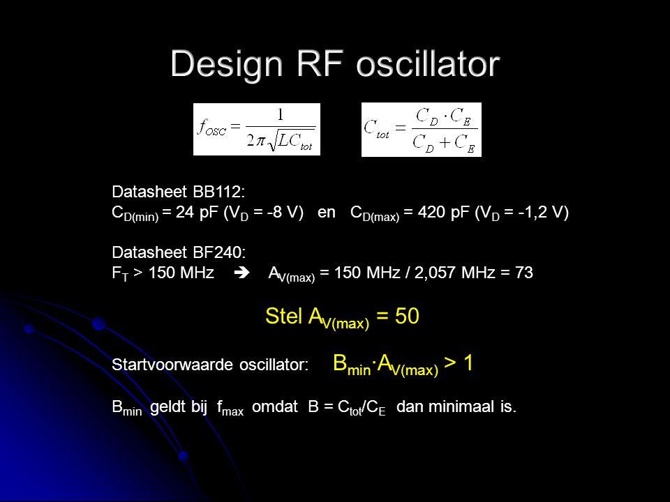 Datasheet BB112: C D(min) = 24 pF (V D = -8 V) en C D(max) = 420 pF (V D = -1,2 V) Datasheet BF240: F T > 150 MHz  A V(max) = 150 MHz / 2,057 MHz = 7