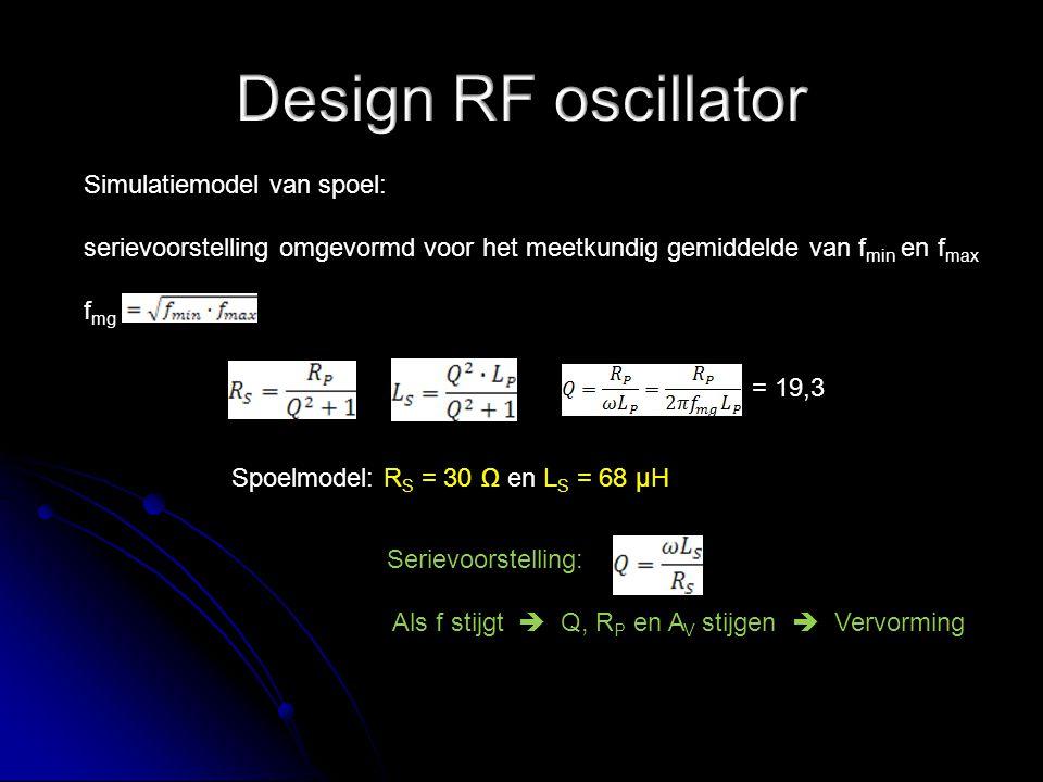 Simulatiemodel van spoel: serievoorstelling omgevormd voor het meetkundig gemiddelde van f min en f max f mg = 19,3 Spoelmodel: R S = 30 Ω en L S = 68 µH Serievoorstelling: Als f stijgt  Q, R P en A V stijgen  Vervorming