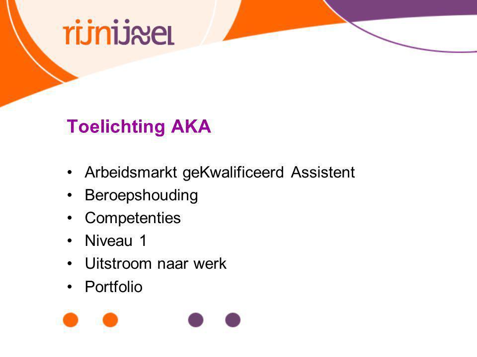 Toelichting AKA Arbeidsmarkt geKwalificeerd Assistent Beroepshouding Competenties Niveau 1 Uitstroom naar werk Portfolio