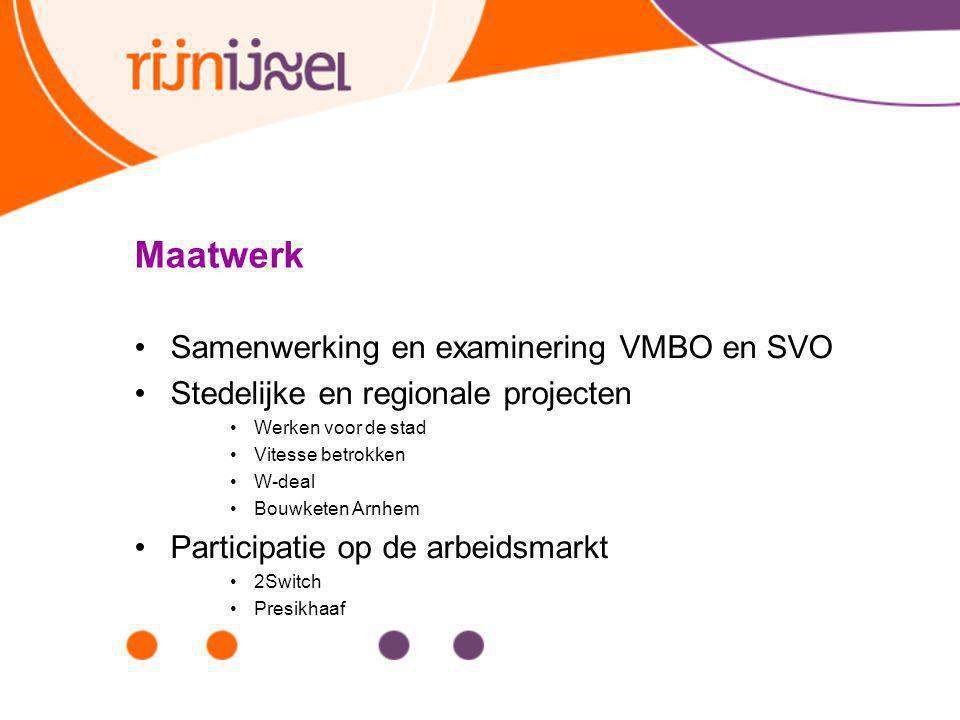 Maatwerk Samenwerking en examinering VMBO en SVO Stedelijke en regionale projecten Werken voor de stad Vitesse betrokken W-deal Bouwketen Arnhem Parti