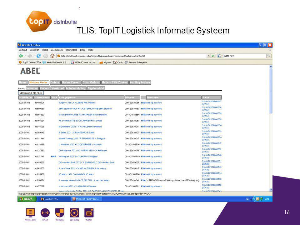 16 TLIS: TopIT Logistiek Informatie Systeem