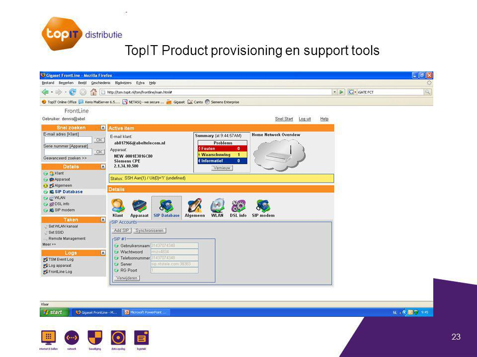 23 TopIT Product provisioning en support tools