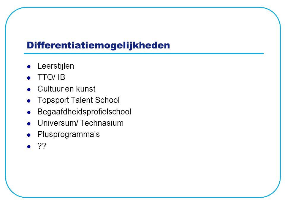 Differentiatiemogelijkheden Leerstijlen TTO/ IB Cultuur en kunst Topsport Talent School Begaafdheidsprofielschool Universum/ Technasium Plusprogramma'