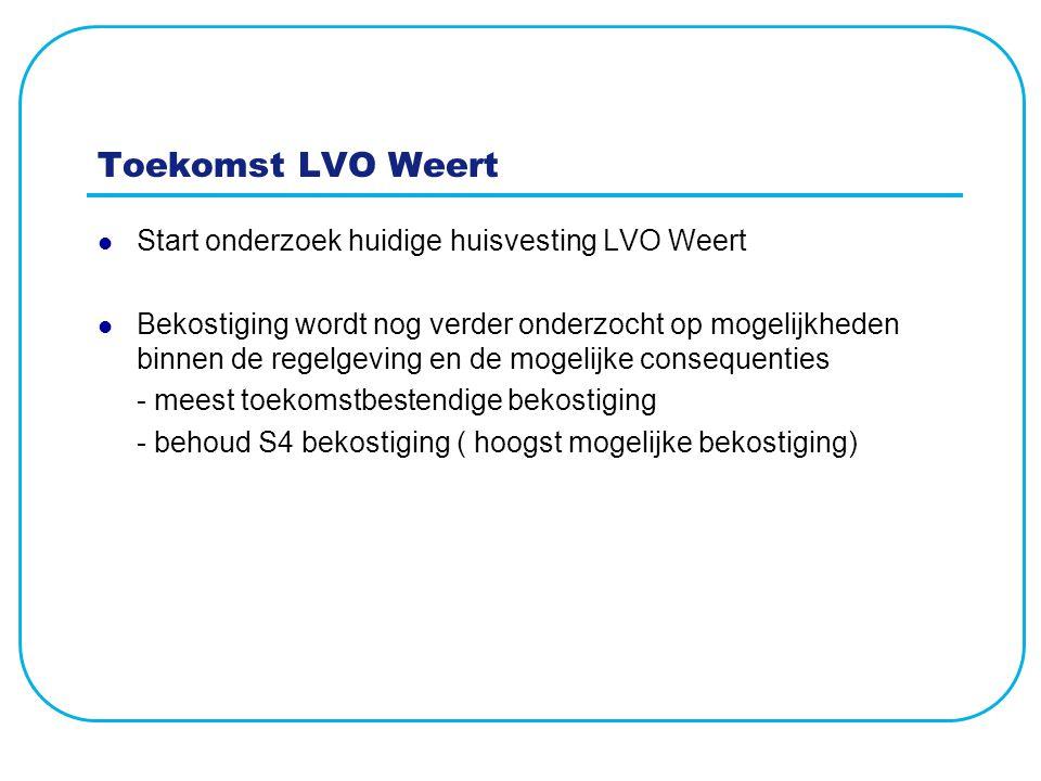 Toekomst LVO Weert Start onderzoek huidige huisvesting LVO Weert Bekostiging wordt nog verder onderzocht op mogelijkheden binnen de regelgeving en de