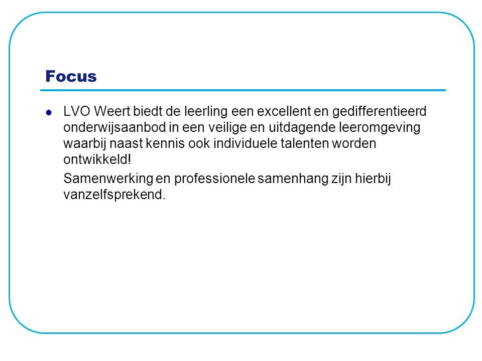 Focus LVO Weert biedt de leerling een excellent en gedifferentieerd onderwijsaanbod in een veilige en uitdagende leeromgeving waarbij naast kennis ook