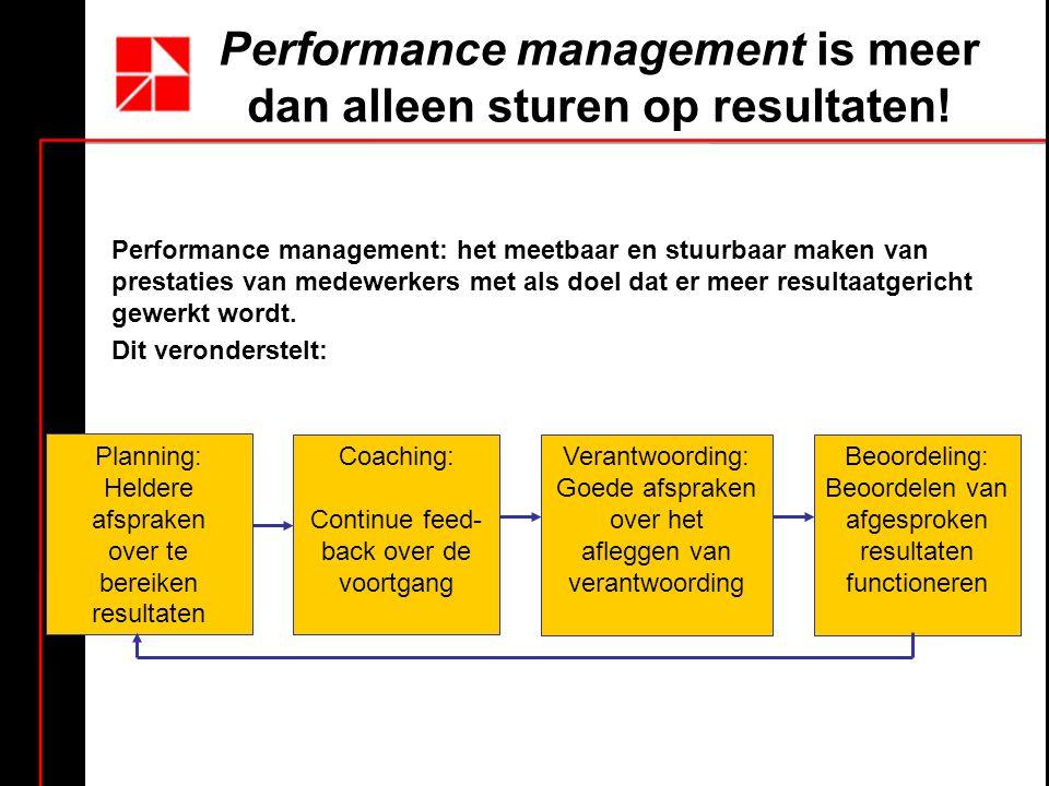 Performance management is meer dan alleen sturen op resultaten.