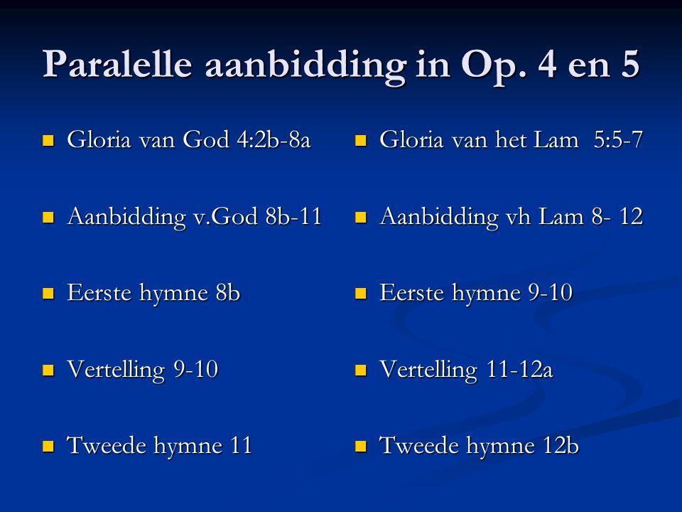 Paralelle aanbidding in Op. 4 en 5 Gloria van God 4:2b-8a Gloria van God 4:2b-8a Aanbidding v.God 8b-11 Aanbidding v.God 8b-11 Eerste hymne 8b Eerste