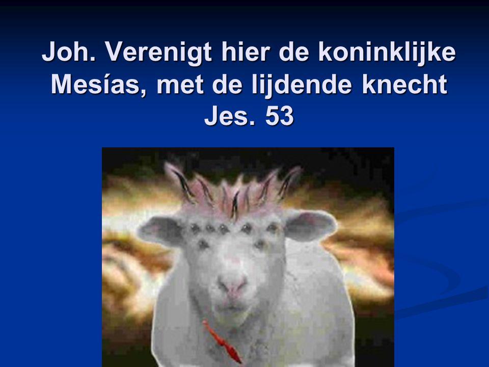 Joh. Verenigt hier de koninklijke Mesías, met de lijdende knecht Jes. 53