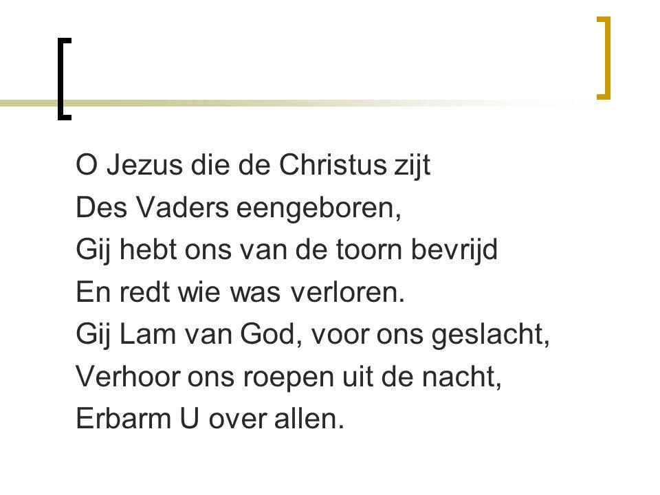 O Jezus die de Christus zijt Des Vaders eengeboren, Gij hebt ons van de toorn bevrijd En redt wie was verloren. Gij Lam van God, voor ons geslacht, Ve