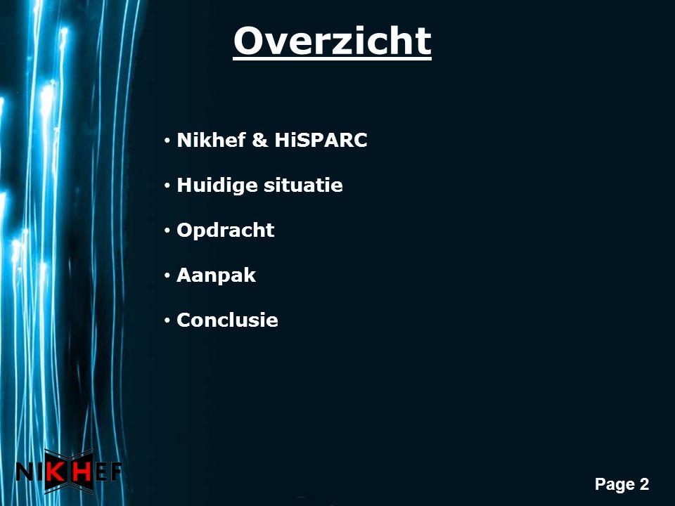 Page 2 Overzicht Nikhef & HiSPARC Huidige situatie Opdracht Aanpak Conclusie