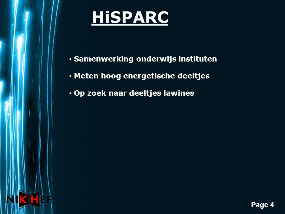 Page 4 HiSPARC Samenwerking onderwijs instituten Meten hoog energetische deeltjes Op zoek naar deeltjes lawines