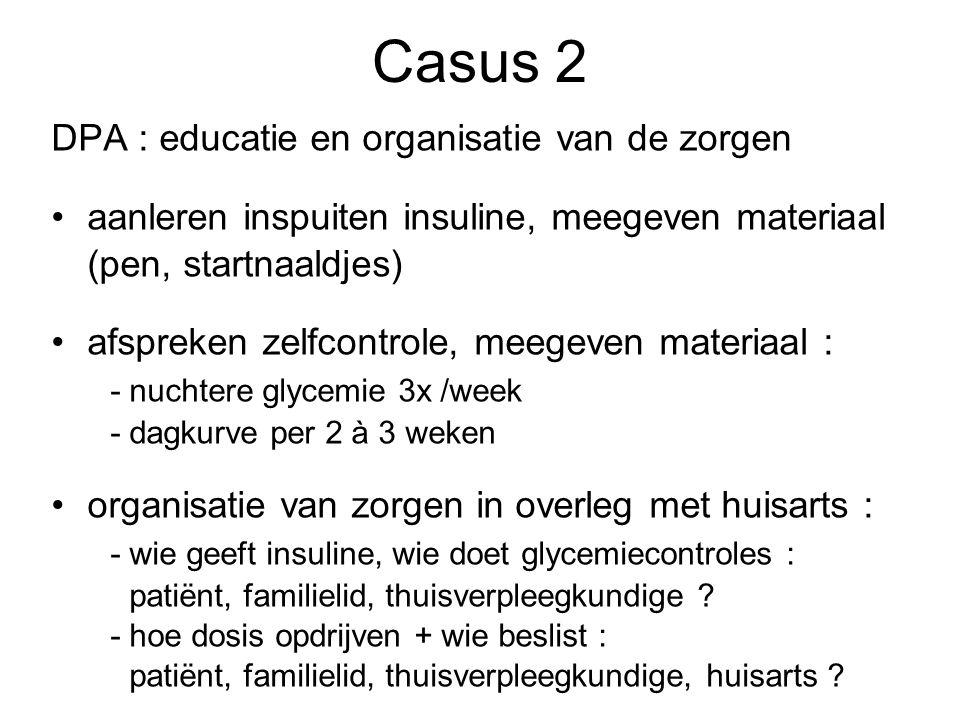 DPA : educatie en organisatie van de zorgen aanleren inspuiten insuline, meegeven materiaal (pen, startnaaldjes) afspreken zelfcontrole, meegeven mate