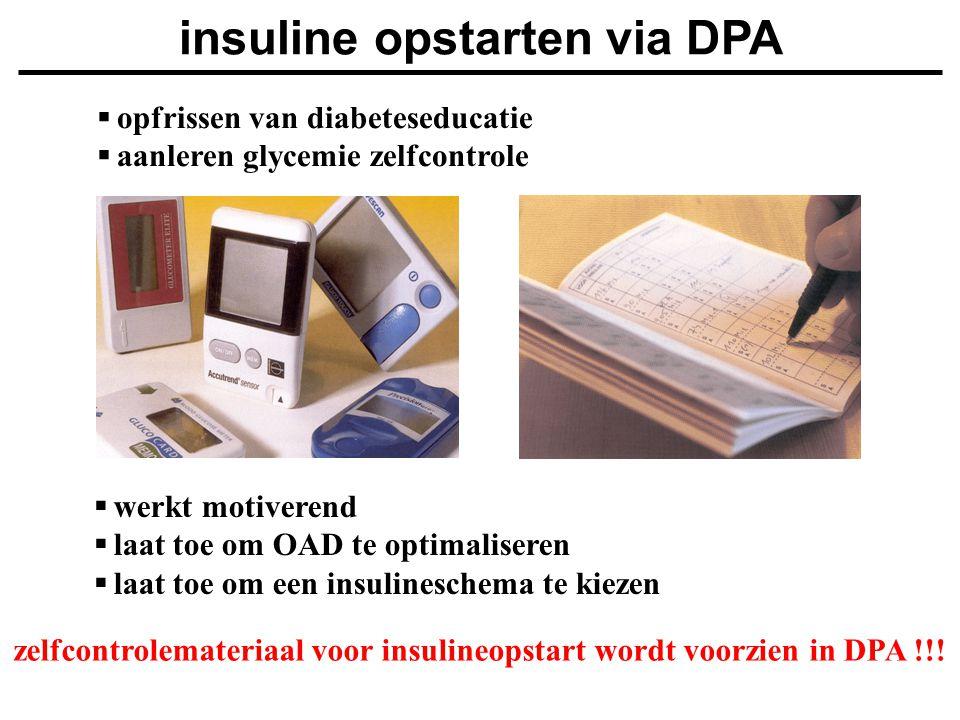  werkt motiverend  laat toe om OAD te optimaliseren  laat toe om een insulineschema te kiezen zelfcontrolemateriaal voor insulineopstart wordt voor