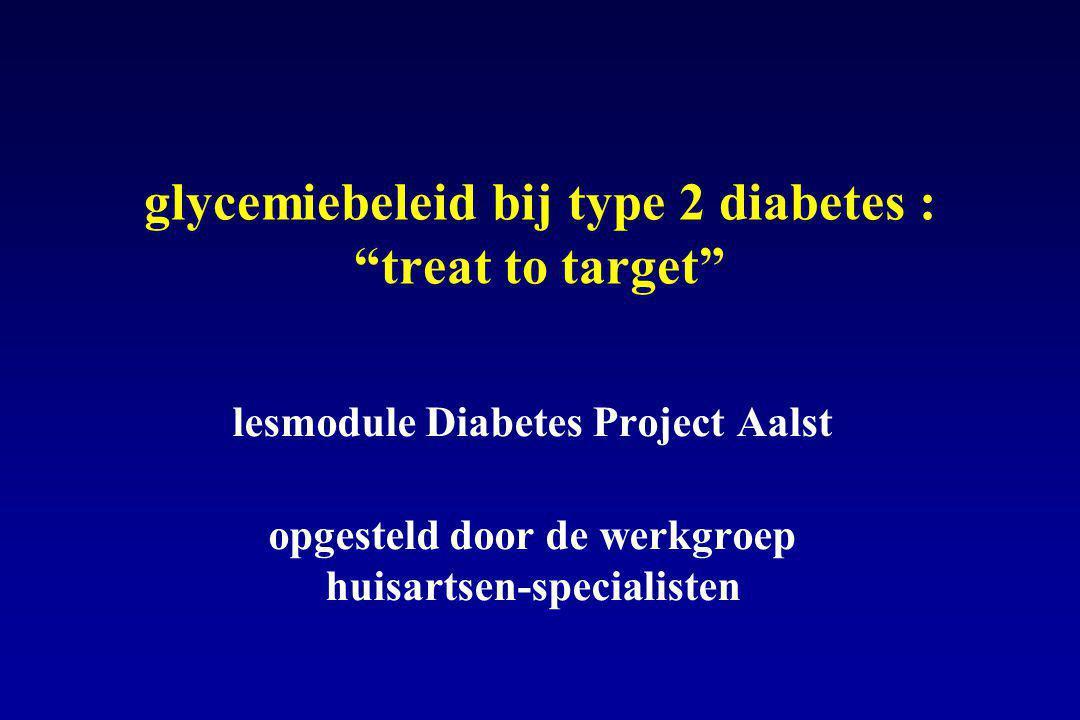  glucose insuline + sulfonylurea gliniden biguaniden + glitazones - glucosidaseremmers geen hypo s !