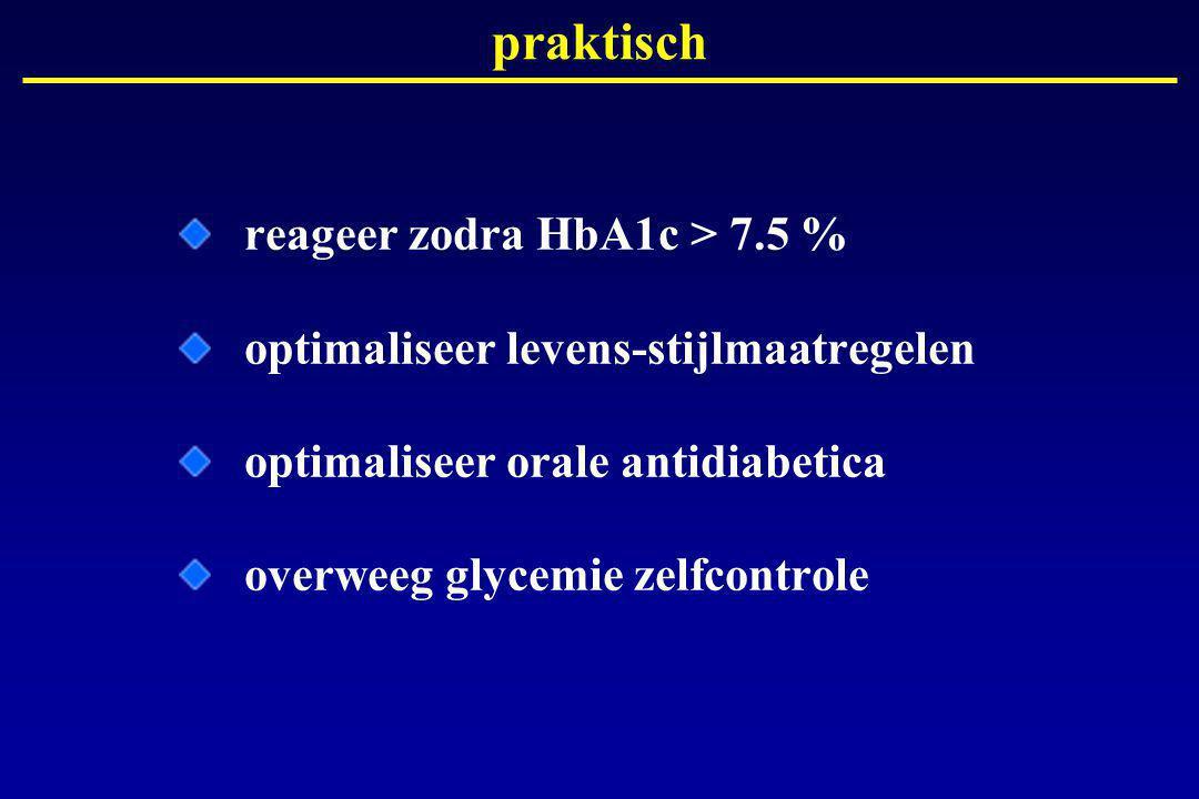 praktisch reageer zodra HbA1c > 7.5 % optimaliseer levens-stijlmaatregelen optimaliseer orale antidiabetica overweeg glycemie zelfcontrole