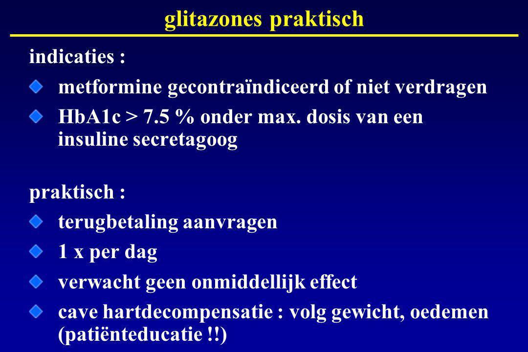 glitazones praktisch indicaties : metformine gecontraïndiceerd of niet verdragen HbA1c > 7.5 % onder max.