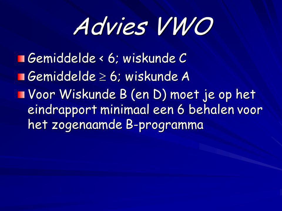 Advies VWO Gemiddelde < 6; wiskunde C Gemiddelde  6; wiskunde A Voor Wiskunde B (en D) moet je op het eindrapport minimaal een 6 behalen voor het zog