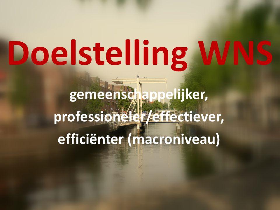 Doelstelling WNS gemeenschappelijker, professioneler/effectiever, efficiënter (macroniveau)