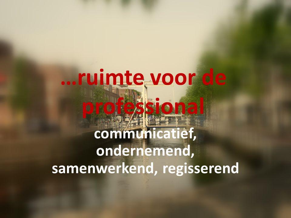 …ruimte voor de professional communicatief, ondernemend, samenwerkend, regisserend