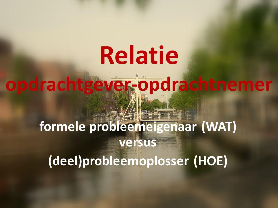 Relatie opdrachtgever-opdrachtnemer formele probleemeigenaar (WAT) versus (deel)probleemoplosser (HOE)