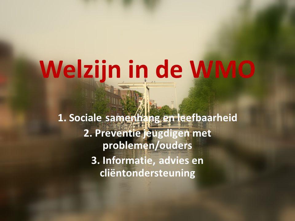 Welzijn in de WMO 1. Sociale samenhang en leefbaarheid 2.