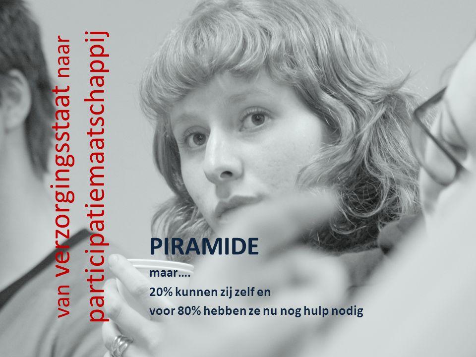 van verzorgingsstaat naar participatiemaatschappij PIRAMIDE maar…. 20% kunnen zij zelf en voor 80% hebben ze nu nog hulp nodig