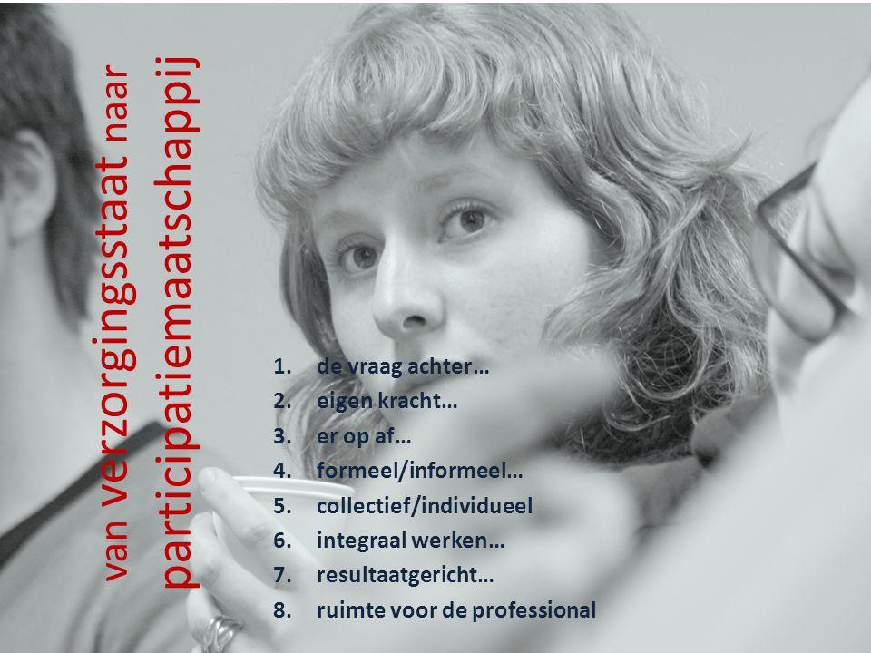 van verzorgingsstaat naar participatiemaatschappij 1.de vraag achter… 2.eigen kracht… 3.er op af… 4.formeel/informeel… 5.collectief/individueel 6.inte