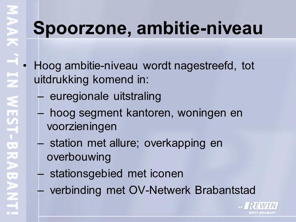 Spoorzone, ambitie-niveau Hoog ambitie-niveau wordt nagestreefd, tot uitdrukking komend in: – euregionale uitstraling – hoog segment kantoren, woninge