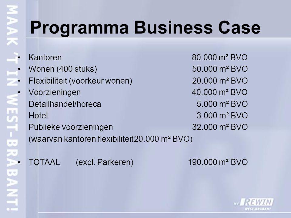 Programma Business Case Kantoren 80.000 m² BVO Wonen (400 stuks) 50.000 m² BVO Flexibiliteit (voorkeur wonen) 20.000 m² BVO Voorzieningen 40.000 m² BVO Detailhandel/horeca 5.000 m² BVO Hotel 3.000 m² BVO Publieke voorzieningen 32.000 m² BVO (waarvan kantoren flexibiliteit20.000 m² BVO) TOTAAL(excl.