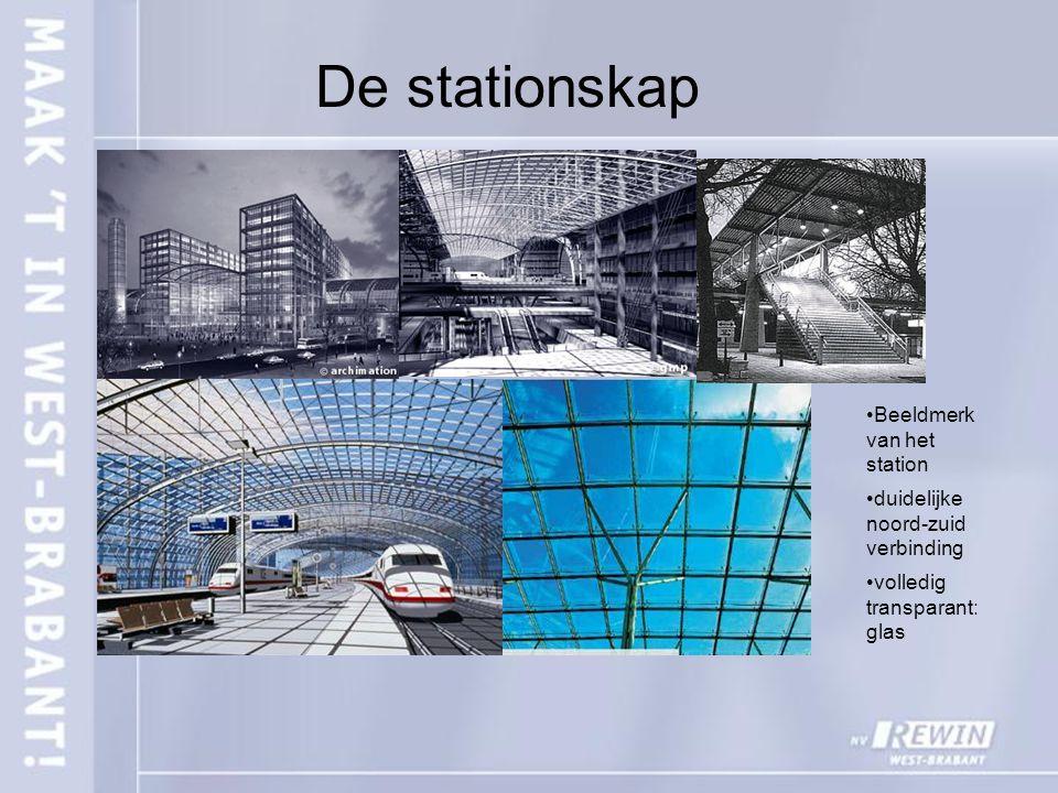 De stationskap Beeldmerk van het station duidelijke noord-zuid verbinding volledig transparant: glas