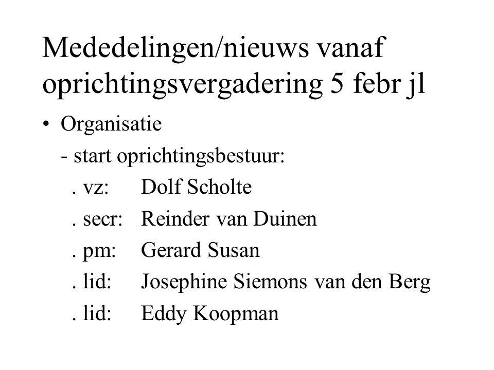 Mededelingen/nieuws vanaf oprichtingsvergadering 5 febr jl Organisatie - start oprichtingsbestuur:. vz: Dolf Scholte. secr: Reinder van Duinen. pm: Ge