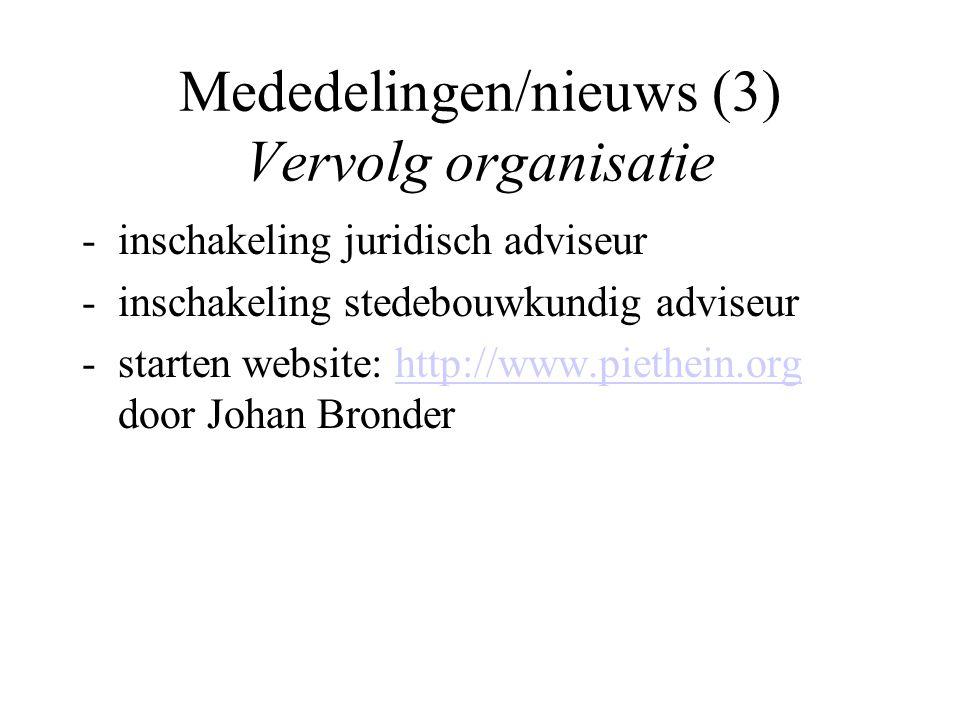 Mededelingen/nieuws (3) Vervolg organisatie -inschakeling juridisch adviseur -inschakeling stedebouwkundig adviseur -starten website: http://www.pieth