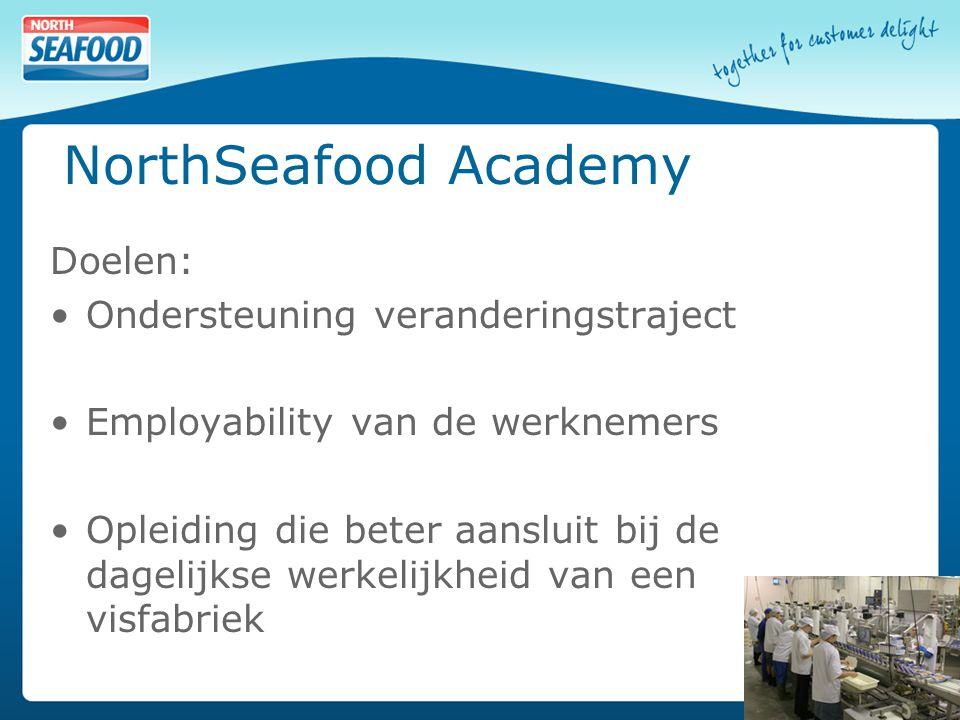 NorthSeafood Academy Doelen: Ondersteuning veranderingstraject Employability van de werknemers Opleiding die beter aansluit bij de dagelijkse werkelijkheid van een visfabriek