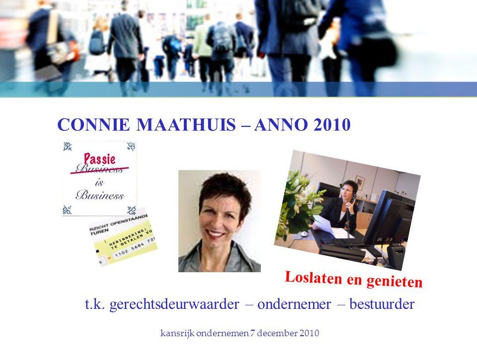 CONNIE MAATHUIS – ANNO 2010 kansrijk ondernemen 7 december 2010 t.k.