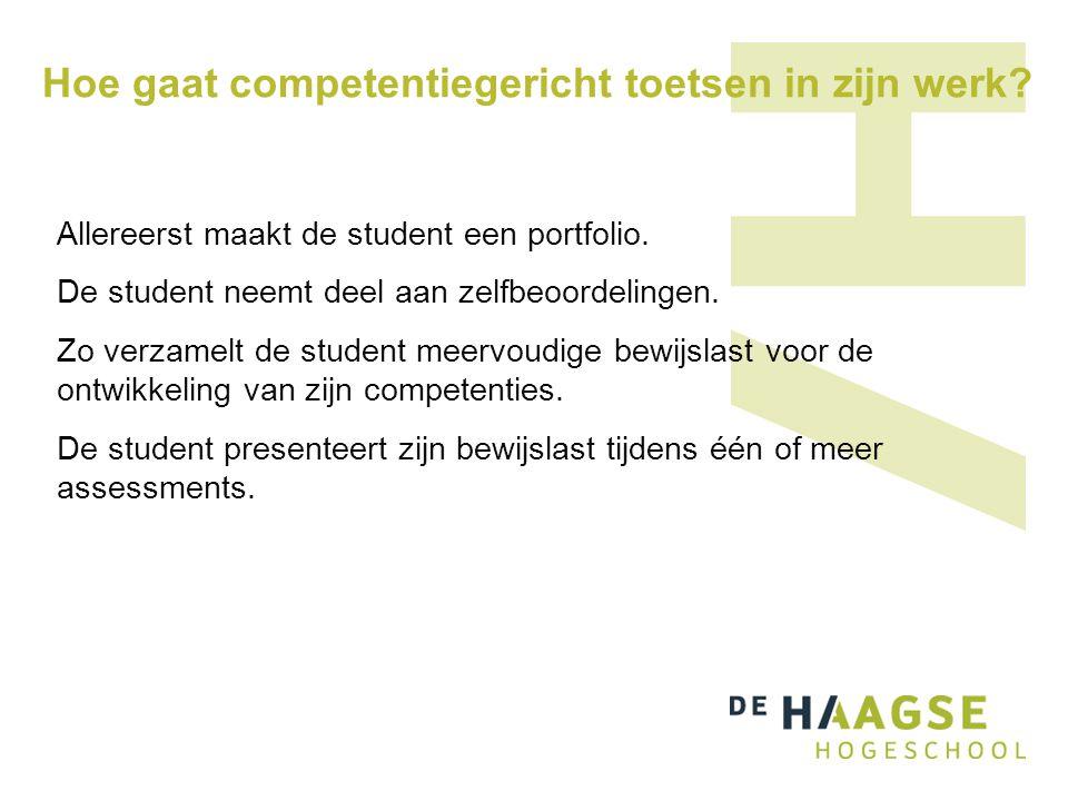 Hoe gaat competentiegericht toetsen in zijn werk? Allereerst maakt de student een portfolio. De student neemt deel aan zelfbeoordelingen. Zo verzamelt
