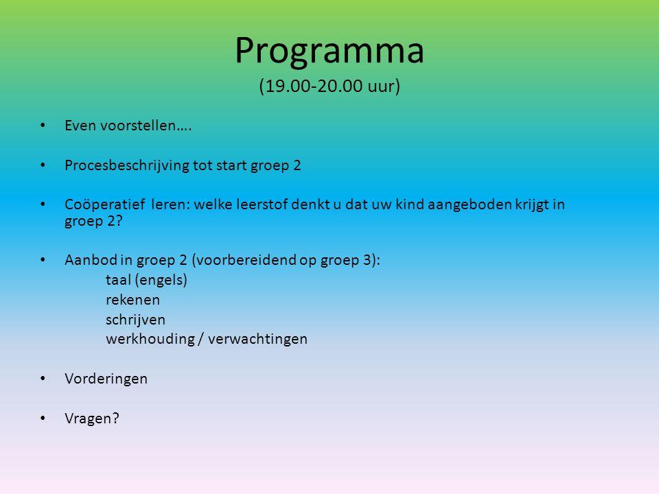 Programma (19.00-20.00 uur) Even voorstellen….