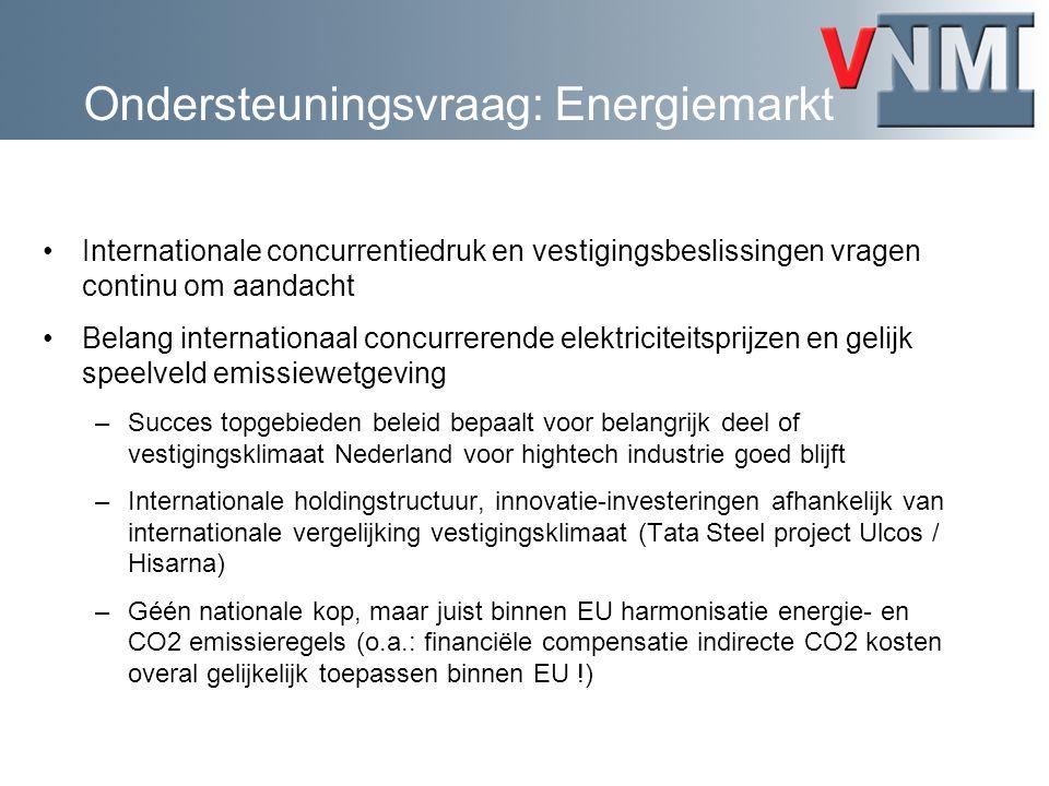 Ondersteuningsvraag: Energiemarkt Internationale concurrentiedruk en vestigingsbeslissingen vragen continu om aandacht Belang internationaal concurrerende elektriciteitsprijzen en gelijk speelveld emissiewetgeving –Succes topgebieden beleid bepaalt voor belangrijk deel of vestigingsklimaat Nederland voor hightech industrie goed blijft –Internationale holdingstructuur, innovatie-investeringen afhankelijk van internationale vergelijking vestigingsklimaat (Tata Steel project Ulcos / Hisarna) –Géén nationale kop, maar juist binnen EU harmonisatie energie- en CO2 emissieregels (o.a.: financiële compensatie indirecte CO2 kosten overal gelijkelijk toepassen binnen EU !)